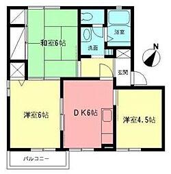 神奈川県高座郡寒川町大曲1丁目の賃貸アパートの間取り
