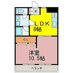 レスカール松原[703号室]の間取り
