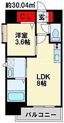 ERIOS COURT 香春口 10階1LDKの間取り