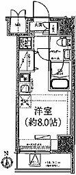 クラリッサ川崎ブルーノ 6階ワンルームの間取り