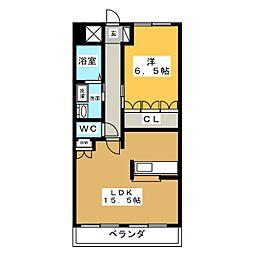 ミロワール赤坪[1階]の間取り