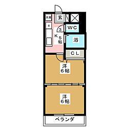 ロイヤルアネックス連坊[4階]の間取り
