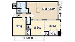 ショーシコン弐番館[907号室]の間取り