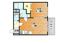 Maison Dream 藤井寺 (メゾンドリーム藤井寺) 3階1DKの間取り