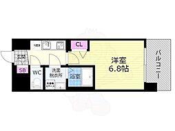 京都市営烏丸線 九条駅 徒歩7分の賃貸マンション 4階1Kの間取り