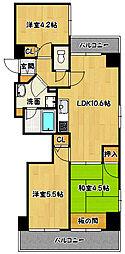 兵庫県神戸市中央区橘通4丁目の賃貸マンションの間取り
