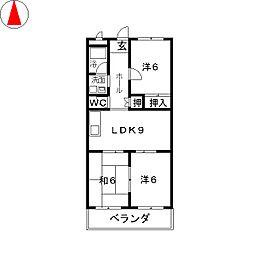 第2グリーンマンションハットリ[2階]の間取り