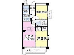 福岡県北九州市小倉南区葛原5丁目の賃貸マンションの間取り