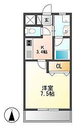 ラフィネ東海通[2階]の間取り