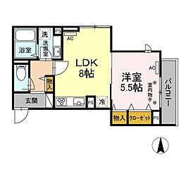 京王線 府中駅 徒歩4分の賃貸アパート 2階1LDKの間取り