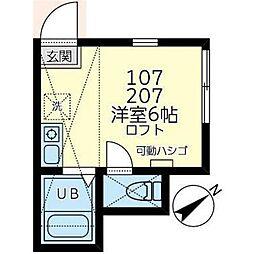ユナイト岡沢マックスタイラー 2階ワンルームの間取り