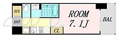 ファステート難波グランプリ 7階1Kの間取り