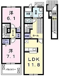 埼玉県川口市安行吉蔵の賃貸アパートの間取り