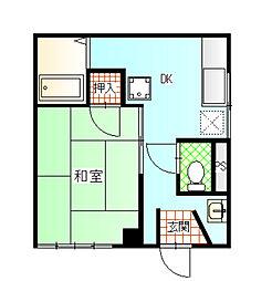 川中島ハイツ 2階1DKの間取り