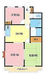 埼玉県さいたま市緑区中尾の賃貸マンションの間取り