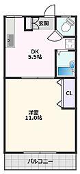 ヴィラ大一マンション 1階1DKの間取り