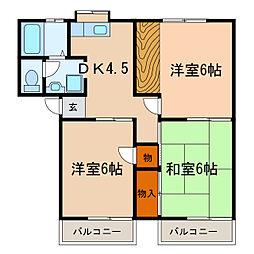 昭和コーポ若松II[2階]の間取り