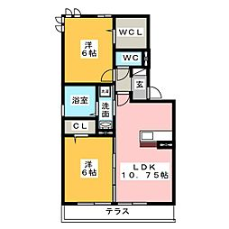 ハロウェル A棟[1階]の間取り
