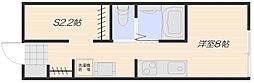 広島電鉄宮島線 地御前駅 徒歩6分の賃貸アパート 2階ワンルームの間取り