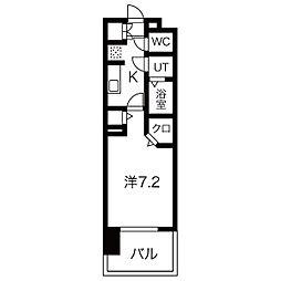 パルティール黒川アネックス 6階1Kの間取り