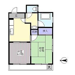 杉本マンション[401号室]の間取り