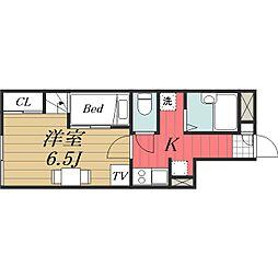 千葉県成田市本三里塚の賃貸アパートの間取り