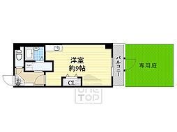 Osaka Metro谷町線 千林大宮駅 徒歩14分の賃貸マンション 1階ワンルームの間取り