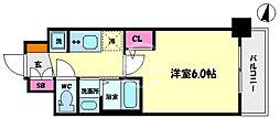 エステムコート難波サウスプレイスVIラグジー 8階1Kの間取り