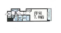 Osaka Metro谷町線 谷町四丁目駅 徒歩5分の賃貸マンション 13階1Kの間取り