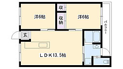 ニューハイツ永尾(南棟)[18号室]の間取り