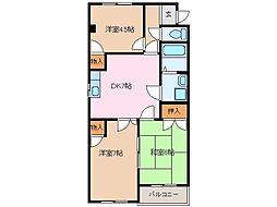 三重県四日市市まきの木台1丁目の賃貸マンションの間取り