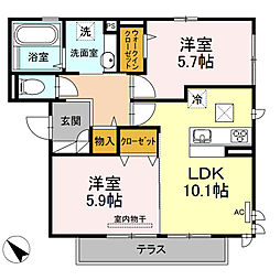 D-room可部3丁目B棟[102号室]の間取り