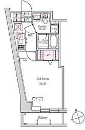 JR山手線 浜松町駅 徒歩11分の賃貸マンション 5階1Kの間取り