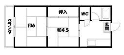 京都府京都市山科区四ノ宮小金塚の賃貸アパートの間取り