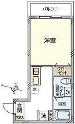 東急池上線 蒲田駅 徒歩15分の賃貸マンション 1階1Kの間取り
