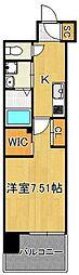 ウィングス西小倉 8階1Kの間取り