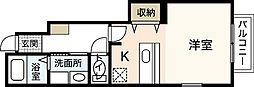 JR山陽本線 横川駅 徒歩25分の賃貸アパート 1階ワンルームの間取り