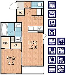 近鉄南大阪線 今川駅 徒歩13分の賃貸マンション 1階1LDKの間取り