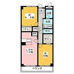 ウィンコート篠原[2階]の間取り