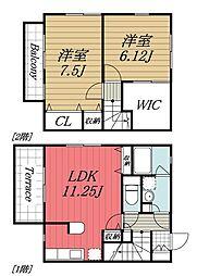 [タウンハウス] 千葉県四街道市鹿渡 の賃貸【/】の間取り