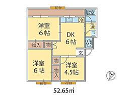 千葉県松戸市二十世紀が丘美野里町の賃貸マンションの間取り