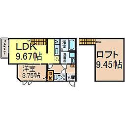 名古屋市営鶴舞線 庄内通駅 徒歩5分の賃貸アパート 1階1LDKの間取り