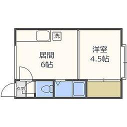 北海道札幌市白石区栄通6丁目の賃貸アパートの間取り