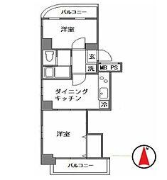エスポ下落合マンション 6階2DKの間取り