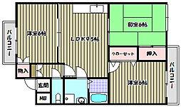 大阪府富田林市津々山台2丁目の賃貸アパートの間取り