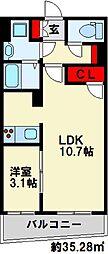 Erde三萩野 7階1LDKの間取り