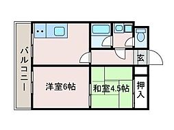ハイツサガミ[2階]の間取り