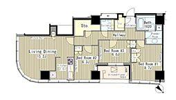 JR山手線 代々木駅 徒歩3分の賃貸マンション 26階3LDKの間取り
