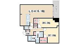 Osaka Metro堺筋線 天神橋筋六丁目駅 徒歩2分の賃貸マンション 15階2LDKの間取り