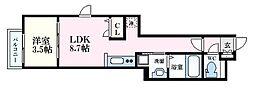 月光江波東四番館 3階1LDKの間取り